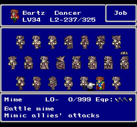 Final Fantasy V Job class system