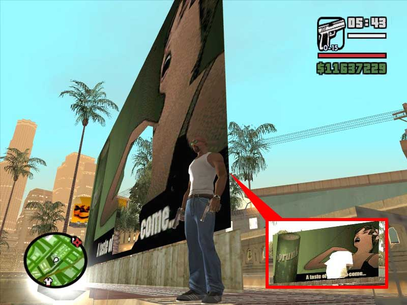 Gta Sa Girl Porn - ... here it is again, as the sign remains damaged for the rest of the game,  hitting you over the head with all the subtlety of a sledgehammer.