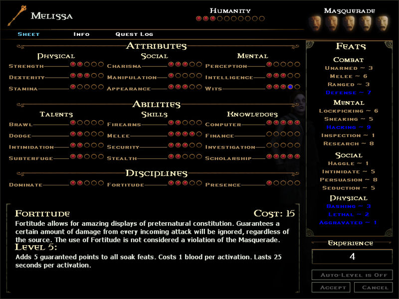 Image result for vampire the masquerade bloodlines attributes